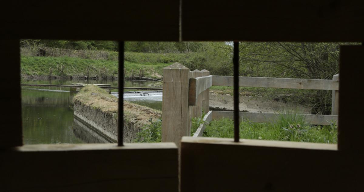 Le paysage cadré depuis la capsule du becquet à Bourth