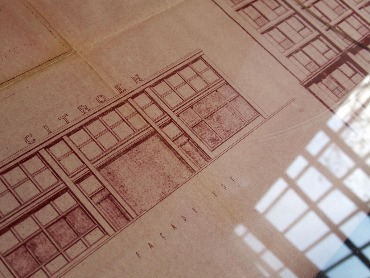 Plan de dépot de permis pour la reconstruction du garage de la porte océane. Archives municipales de la ville du Havre