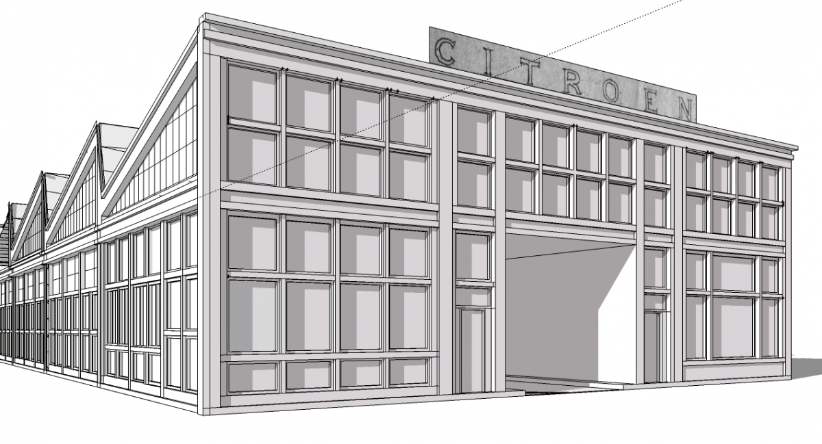 Garage de la porte océane. Modélisation préparatoire